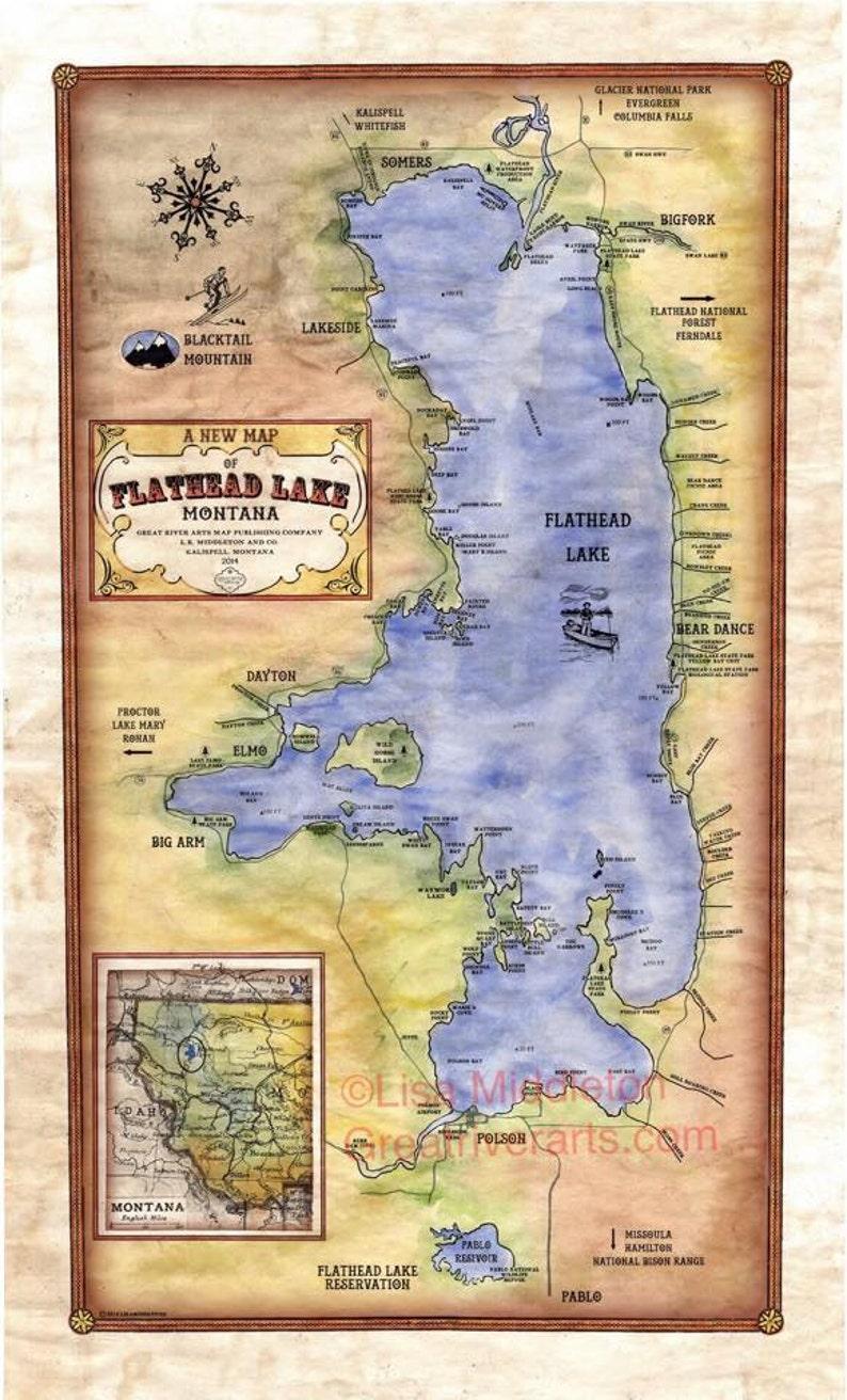 Kalispell Zip Code Map.Flathead Lakemontana Vintage Mapvintage Map Artmontana Etsy