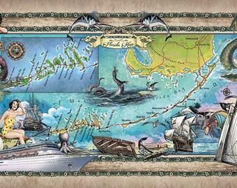 Florida Keys map, Coastal Design, shipwreck map, Beach House Gift, Florida Keys, Florida Keys Art, Florida gift, Coastal Map, Coastal art