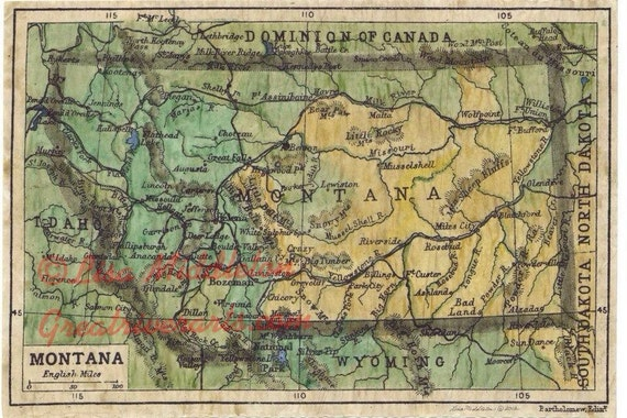 Montana map, Vintage map,Vintage map art,Montana vintage map,old  map,antique maps,map vintage,map art vintage,vintage map montana,map ant