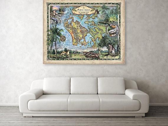 Marco Island Florida Map.280 Marco Island Florida Vintage Map Artantique Mapsmap Etsy