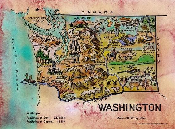 Kid\'s map Washington vintage map coloring book map   Etsy
