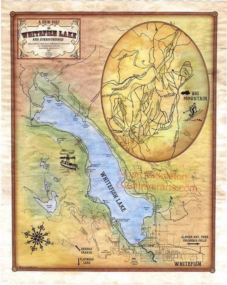 Vintage montana, montana map, Whitefish Lake, Montana vintage historic  painting poster print. map, old map, whitefish map, montana gifts