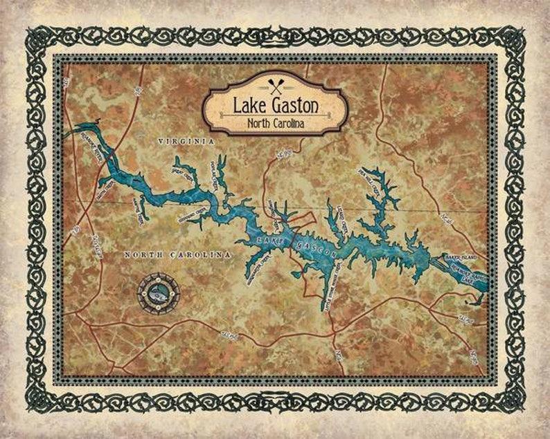 Gaston Nc Map.Lake Gaston Lake Gaston Map Lake Gaston Nc Lake Gaston Wall Etsy