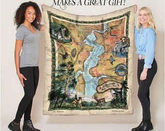 Jacksonville and The St. John's River Florida Map Blanket Double Stitched Edges Luxury Fluffy Super Soft 430 GSM Polyester Throw Blanket