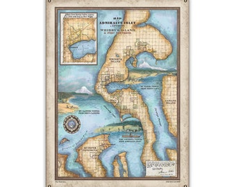 Washington Admiralty Inlet and Environs, Including Whidby'S Island and Port Townsend. Vintage stye map art on Wood or Metal for Lake House,
