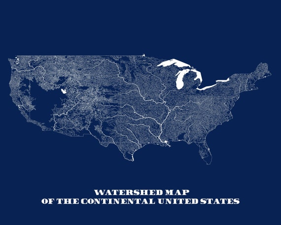 waterways map of united states, united states map, rivers, map gifts,  traveler gifts, fishing gifts, old map, us map, river map, watershed
