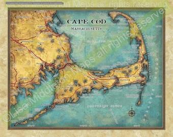Cape Cod map, Cape Cod Decor, Cape Cod Wall Art, Cape Cod Gift, Cape Cod Print,  Vintage Map, Cape Cod Map, Cape Cod Art, Large Wall Art