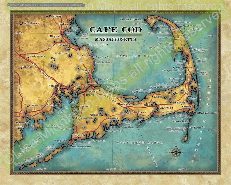 image about Printable Map of Cape Cod titled cape cod, cape cod map, map cape cod, cape cod artwork, coastal decor, seashore household, marthas winery artwork, nantucket reward, map print, large maps,