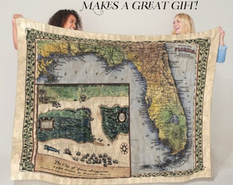 St. Augustine boazio Florida Map Blanket Double Stitched Edges Cozy Luxury Fluffy Super Soft 430 GSM Polyester Throw Blanket