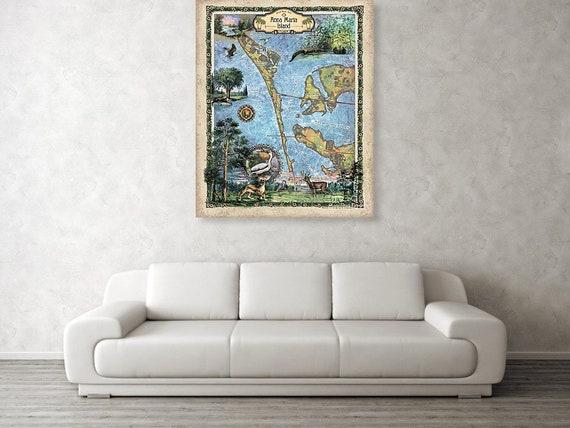 Anna Maria Island Florida Map.Anna Maria Island Anna Maria Map Florida Map Florida Gifts Etsy