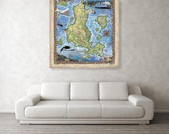 puget sound map, map puget sound, Lopez Island, lopez island map, lopez island art, island life, orca art, orca art decor, ocean art, ocean