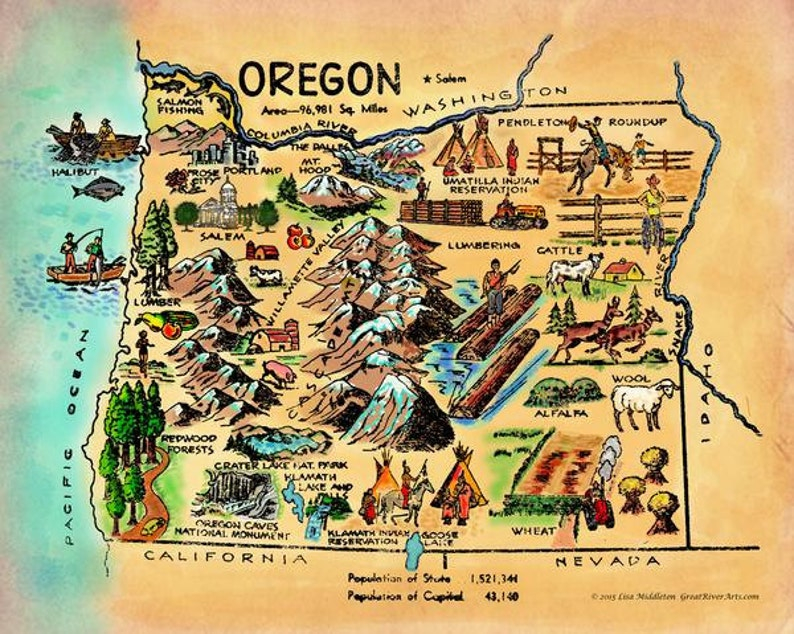 Kid\'s map of Oregon vintage historic antique map poster | Etsy