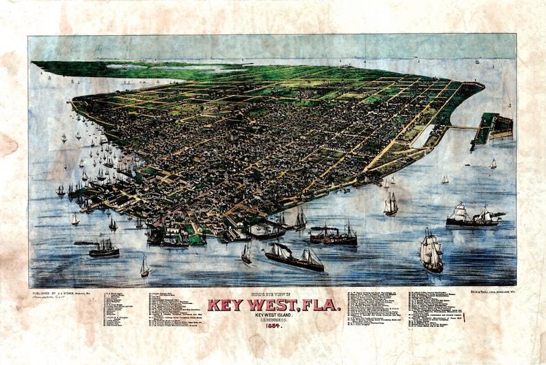 24x36 Bird/'s Eye View 1884 Key West Florida Vintage Style City Map