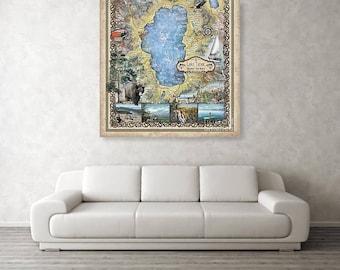 Lake Tahoe, lake tahoe art, lake tohoe print, lake tahoe map, lake tahoe wall art, poster, lake tahoe nv, map lake tahoe, art lake tahoe, NV