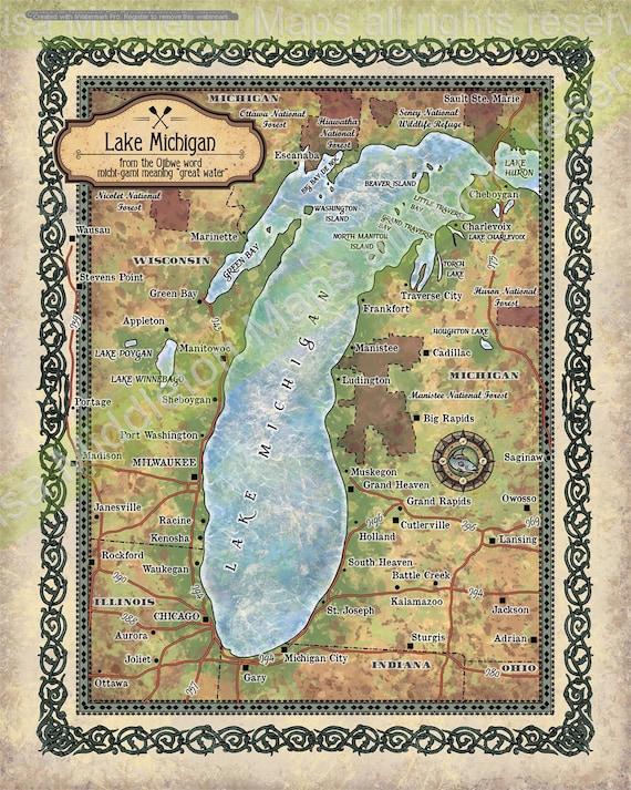 Lake Michigan Lake Michigan Map Lake Art Lake House Lake Etsy