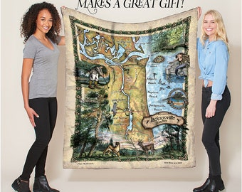 Jacksonville The Beaches of Florida Map Blanket Double Stitched Edges Cozy Luxury Fluffy Super Soft 430 GSM Polyester Throw Blanket