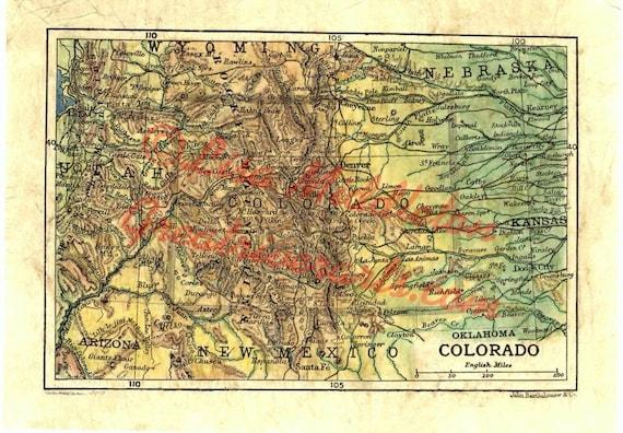 Colorado Karte Fluss.30 Colorado 1906 11 X 14 Rocky Mountains Denver Von Hand Bemalte Karte Ledger Kunst Westliche Kunst Grosse Fluss Kunst Karte Kunst Reise Leiten