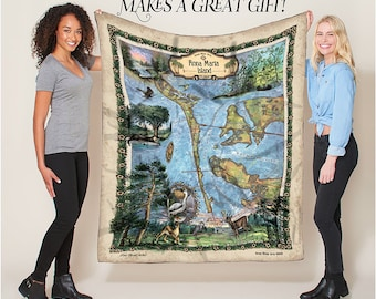 Anna Maria Florida Map Blanket Double Stitched Edges Cozy Luxury Fluffy Super Soft 430 GSM Polyester Throw Blanket