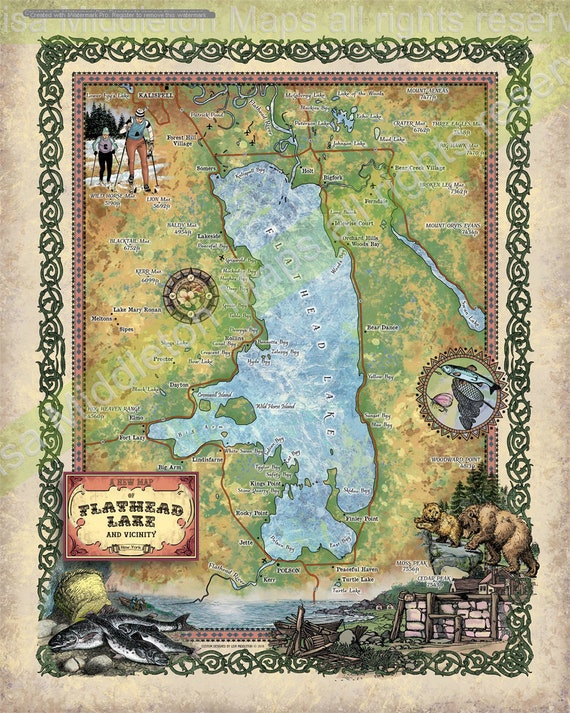 Flathead Lake Flathead Lake Mt Flathead Lake Map Map Etsy
