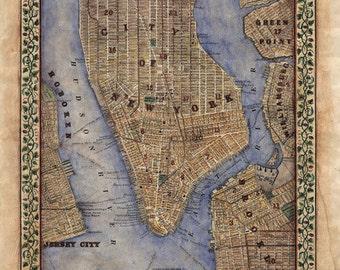 manhattan, Manhattan map, Vintage Map New York, Vintage Map NYC,  New York Vintage Map, New York Gifts, Brooklyn Map, New York City Map, NY