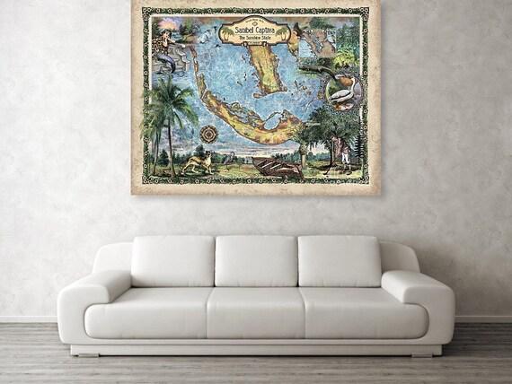 Sanibel Beach Florida Map.Sanibel Island Sanibel Captiva Florida Map Florida Gifts Etsy