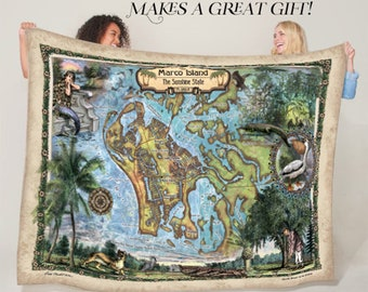 Marco Island Florida Map Blanket Double Stitched Edges Cozy Luxury Fluffy Super Soft 430 GSM Polyester Throw Blanket