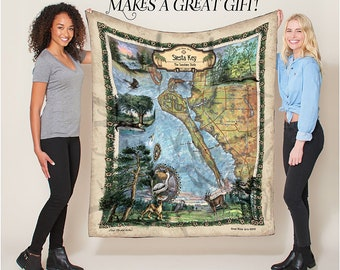 Siesta Key Florida Map Blanket Double Stitched Edges Cozy Luxury Fluffy Super Soft 430 GSM Polyester Throw Blanket