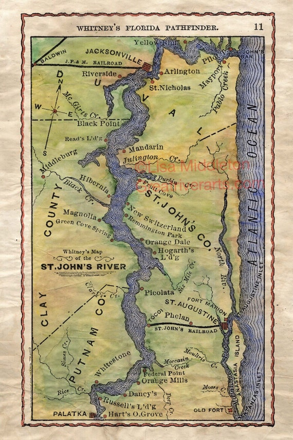 118 St John S River Vintage Mapvintage Map Artflorida Etsy