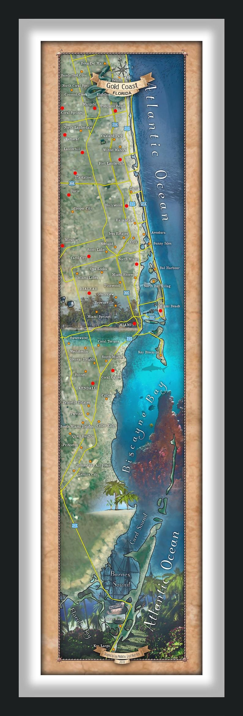miami, miami map, ft. lauderdale map, gold coast, miami coast map, miami  poster, flordia map, map art, coastal art, beach art, beach house