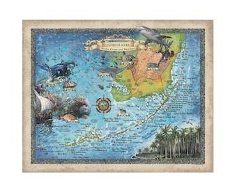 Florida Keys Scuba Diving map, Key west map, Coastal Vintage, snorkel, diving, diver, Florida Gift, Scuba Diving Gift, Scuba Diving, Florida