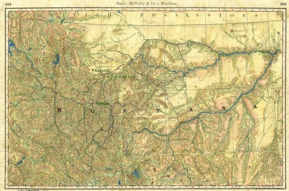 81 Montana Wagon Roads 1889 Vintage map art,Montana vintage map,old  map,antique maps,map vintage,map art vintage,vintage map montana,map ant