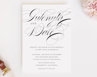 Purple Leaf Calligraphy PDF Wedding Invitation and RSVP Card Printable Printed Tree - Digital File Nature Falling DIY Script
