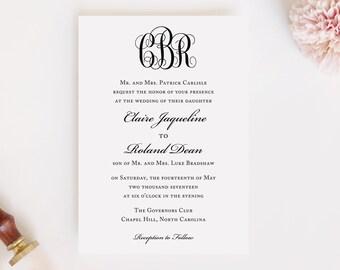 Wedding Invitation and RSVP Card (Monogrammed) - Digital File, PDF, DIY, Printable, Postcard, Monogram, Black and White, Southern, Rustic