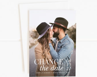 Photo Change the Date Card, Save the New Date, Unsave the Date, Wedding Postponement Announcement, Printable Change the Date, Printed Cards