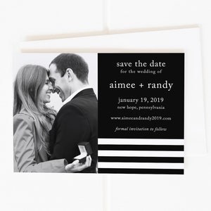 Calligraphy Save the Dates Calligraphy Save the Date Magnet Black and White Save the Dates Printable Save the Date Stripe Save the Dates
