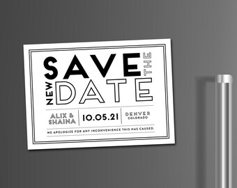 Save the New Date Magnets, Unsave the Date Magnet, Change the Date Magnets, Wedding Postponement, Printable Change the Date, Printed Magnets