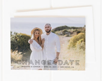 Change the Date Cards, Save the New Date, Unsave the Date, Photo Save the New Date Card, Wedding Postponement Announcement, Printable, PDF
