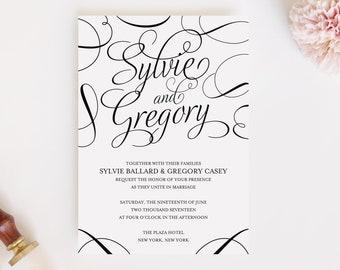 Wedding Invitation and RSVP Card (Sylvie) -Digital File, PDF, DIY, Printable, Calligraphy, Script, Black and White, Modern, Classic, Printed