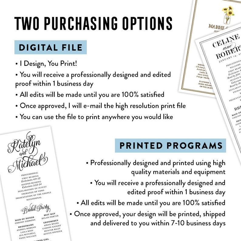 Calligraphy Wedding Programs Wedding Program PDF Printable Wedding Program Black and White Wedding Programs Printed Wedding Programs