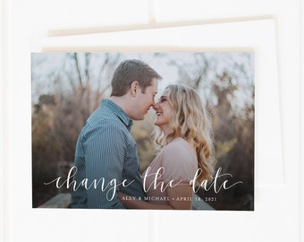 Printable Change the Date Card, Save the New Date, Unsave the Date, Photo Save the New Date Card, Wedding Postponement Announcement, Printed