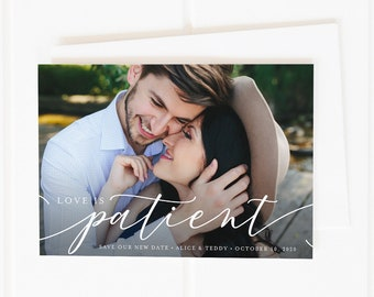 Love is Patient, Change the Date Cards, Save the New Date, Unsave the Date, Photo Save the New Date Card, Wedding Postponement, Printable
