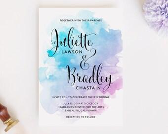 Watercolor Wedding Invitations, Modern Wedding Invitations, Minimalist Wedding Invitation, Printable Wedding Invitation, Printed Invitations