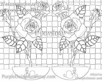Adult Coloring Page Printable Roses Colour Digital Color Art Sheet Rose Buds Bud Cluster Flowers Line Drawing JPEG File Instant Download