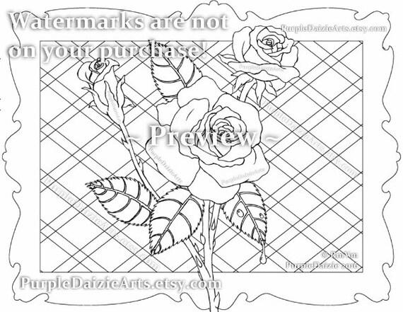 Color imprimible página rosas color adulto Digital para | Etsy