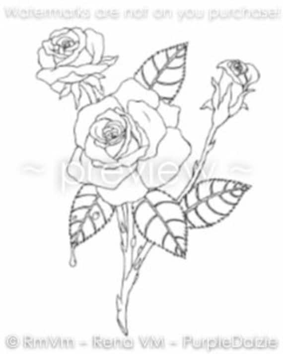 Roses Printable Color Page Página para colorear de flores | Etsy
