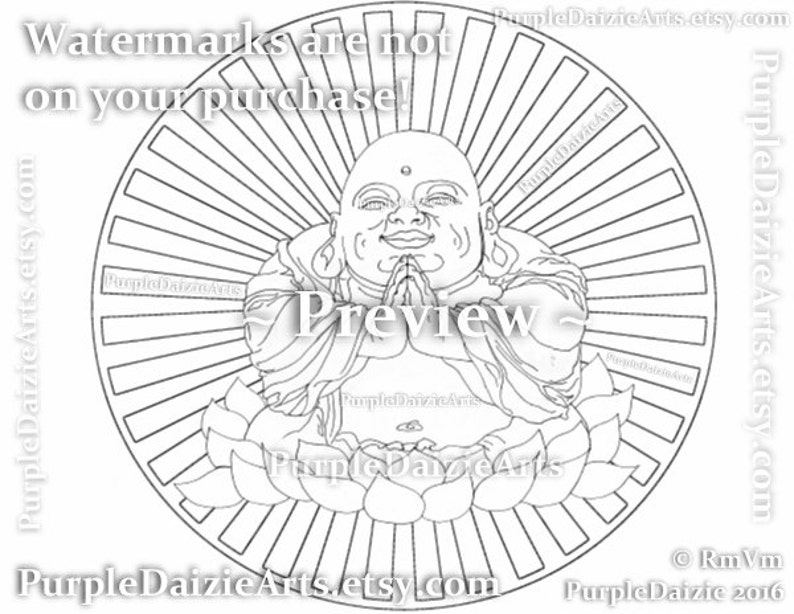 Happy Buddha Printable Coloring Page Smiling In A Lotus Flower Etsy