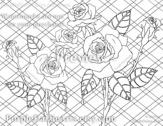 Adultos rosas para colorear página imprimible color Color | Etsy