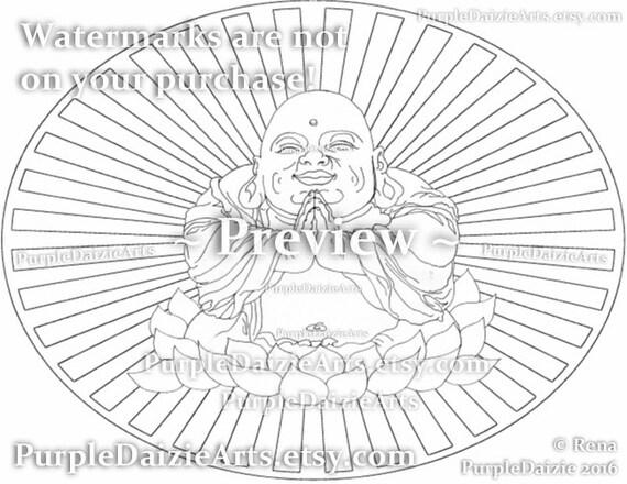 Sonrisa de Buda para colorear para Imprimir página feliz en   Etsy