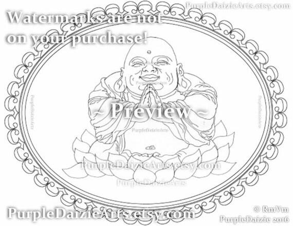 Página de imprimibles para colorear de Buda sonriente en un   Etsy
