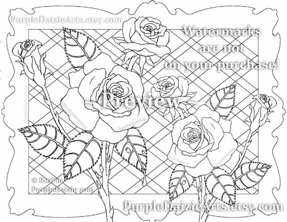 Printable Color Page Adult Roses Colour to Digital Color Art | Etsy